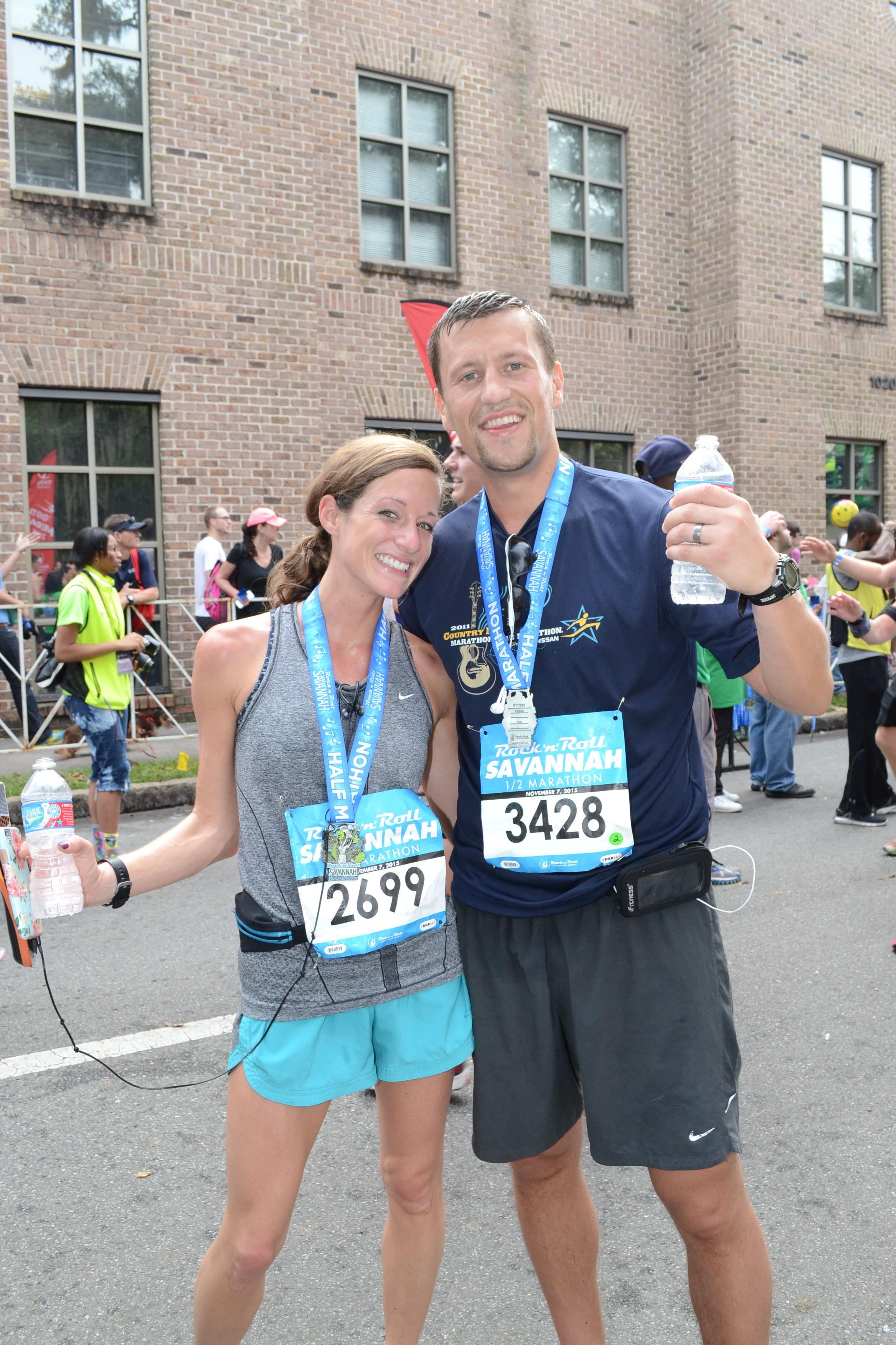 My favorite running buddy (my hubby) at our last half marathon in Savannah. This is the first race that we won't be running together but he is going to be the best little cheerleader on the sideline!