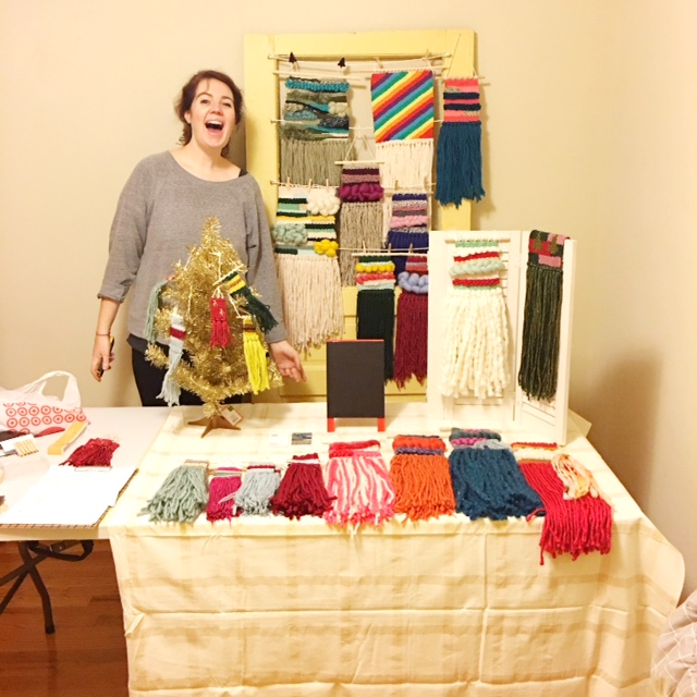 "My ""practice set-up"" for my first craft show -- note the uncontainable excitement."
