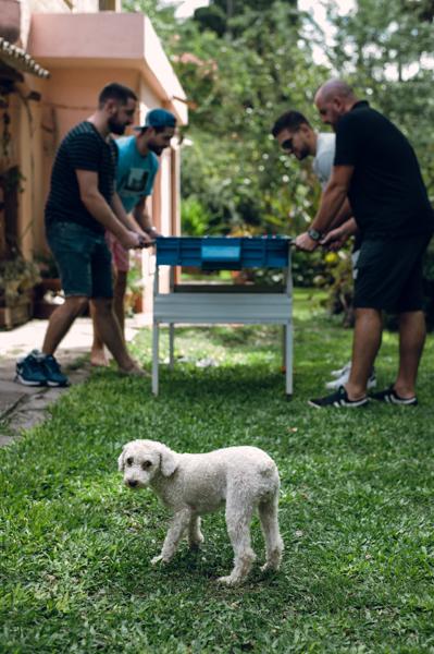 Novio y amigos jugando al metegol junto a perro caniche