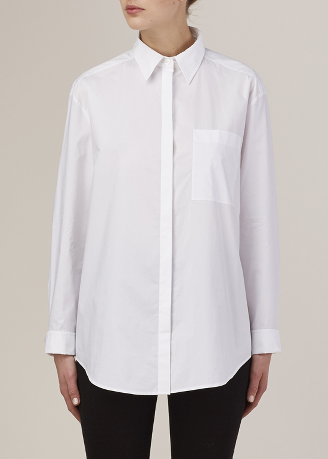 Acne Optic White Addle Tech Pop Shirt