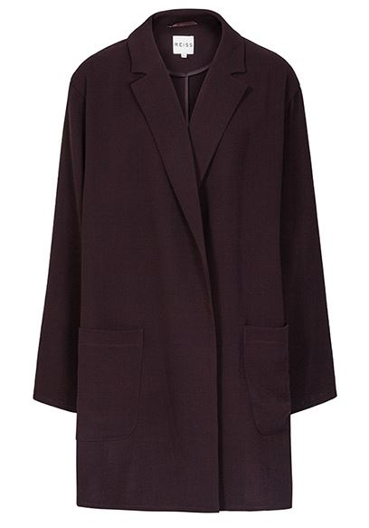 Reiss Gia Berry Relaxed Longline Jacket