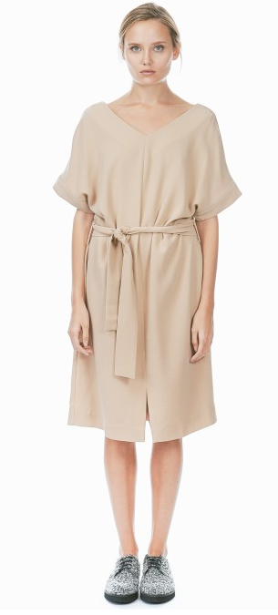 Achro | Beige Belted Slit Dress