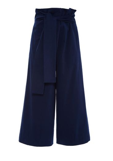 Tibi | Navy Luxe Brushed Cotton Twill Pants