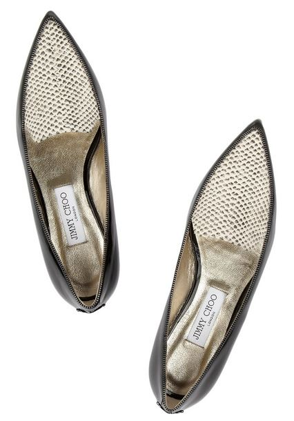 Jimmy Choo Guild patent-leather and snake-effect leather point toe flats