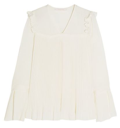 See by Chloe pleated crepe de chine white blouse