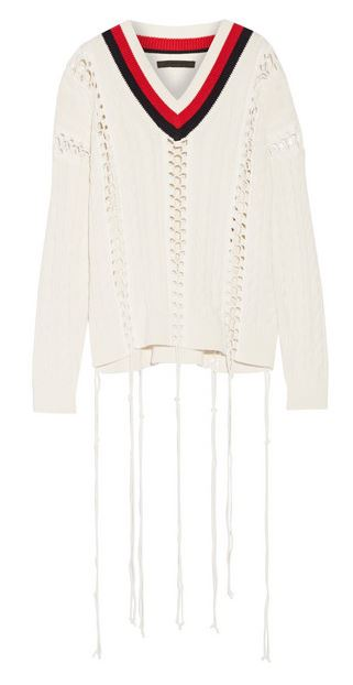 alexander wang lace up cable knit sweater