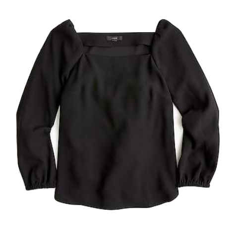 j.crew black square neck top
