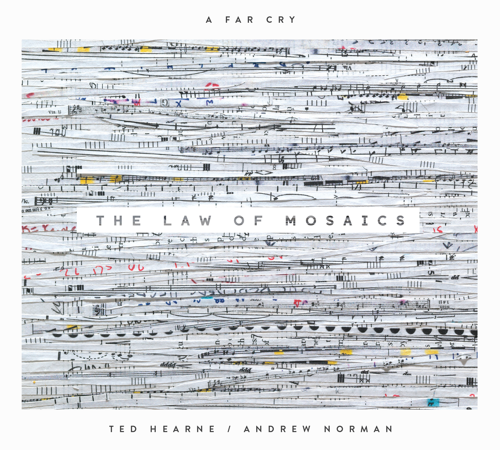 The Law of Mosaics: music of Ted Hearne and Andrew Norman   (Crier Records, 2013) album art by Rachel Perry Welty design by Laura Grey