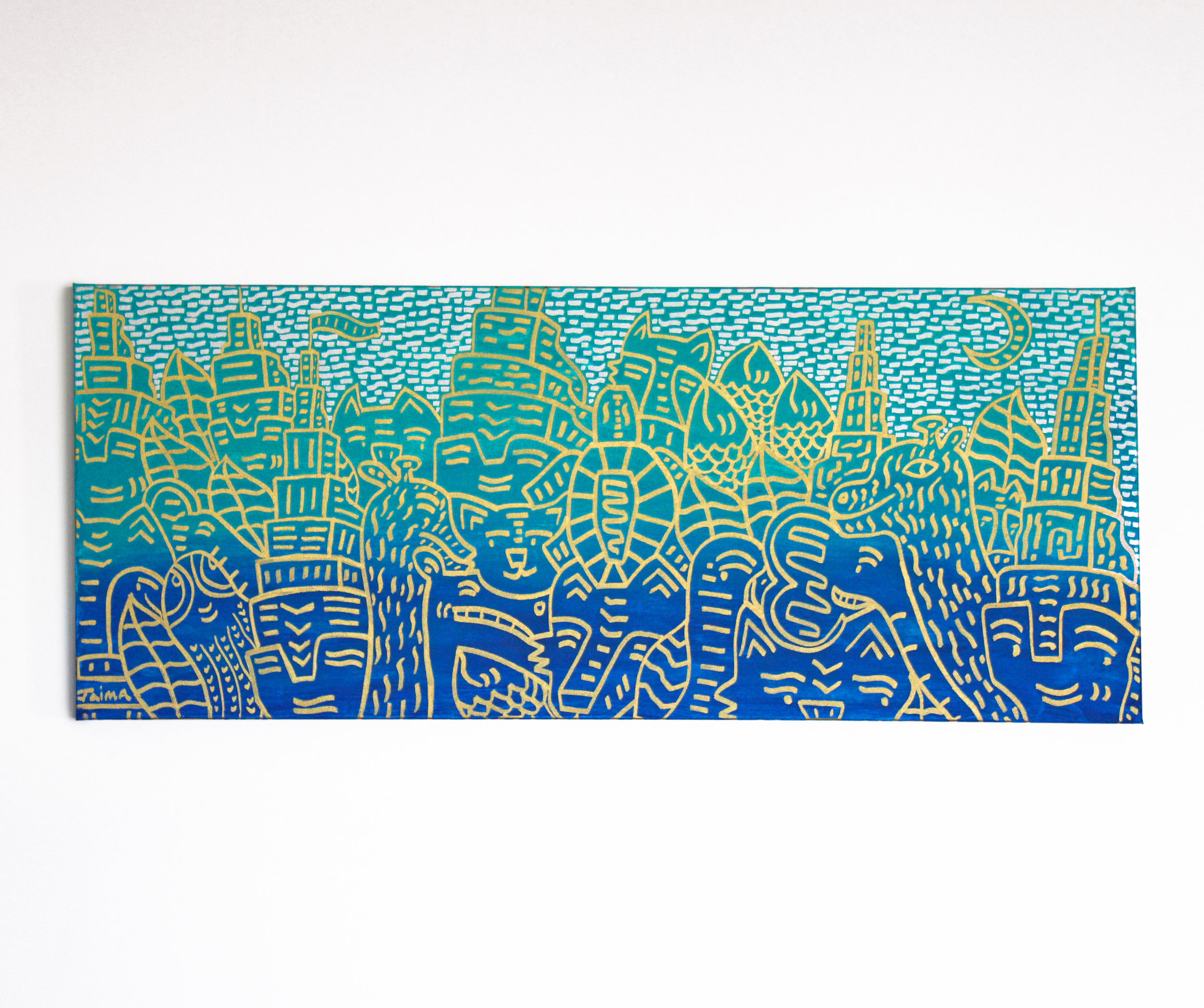 "Blue to Teal 40"" x  16"""