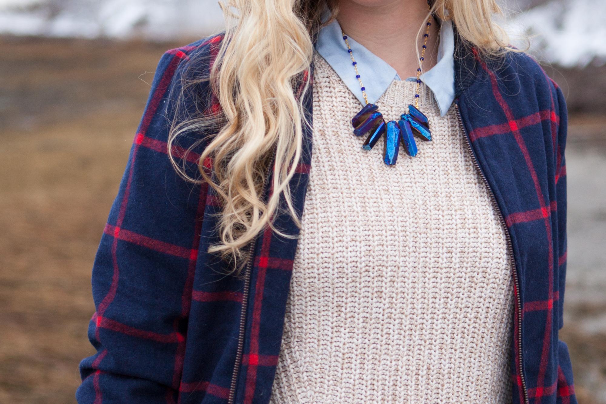 Photo by  Stephanie Larsen . Shop the  Titanium Quartz Spike Statement Necklace.