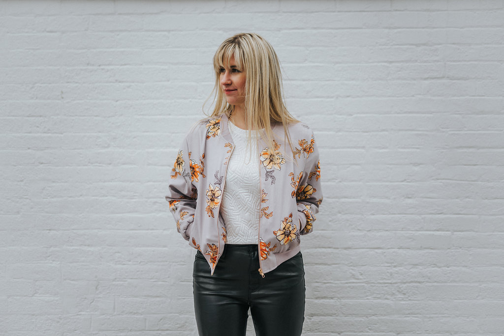 Juniors Floral Bomber from  TJ Maxx
