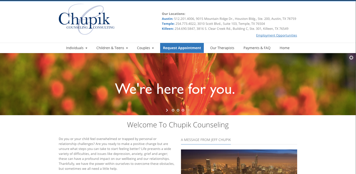 Redesign of Chupikcounseling.com