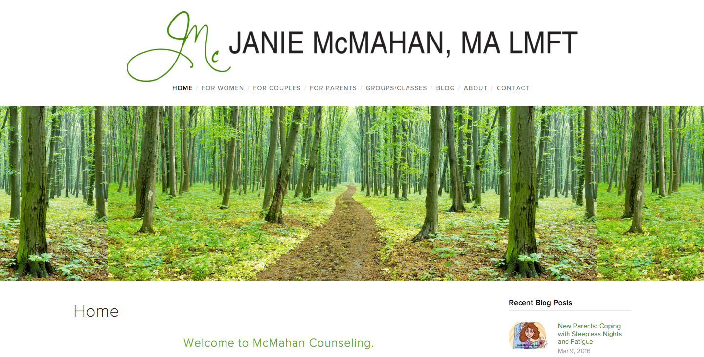 Redesign of JanieMcMahan.com