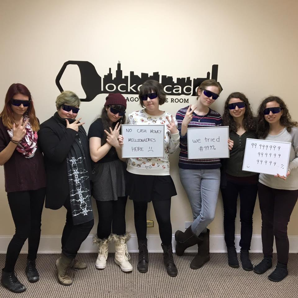 If there was a way to say you unlocked the treasure without actually doing it these ladies would have that honor - 99% complete definitely one of our best teams yet at Lock Chicago!! So close to beating the escape room, thanks for coming!
