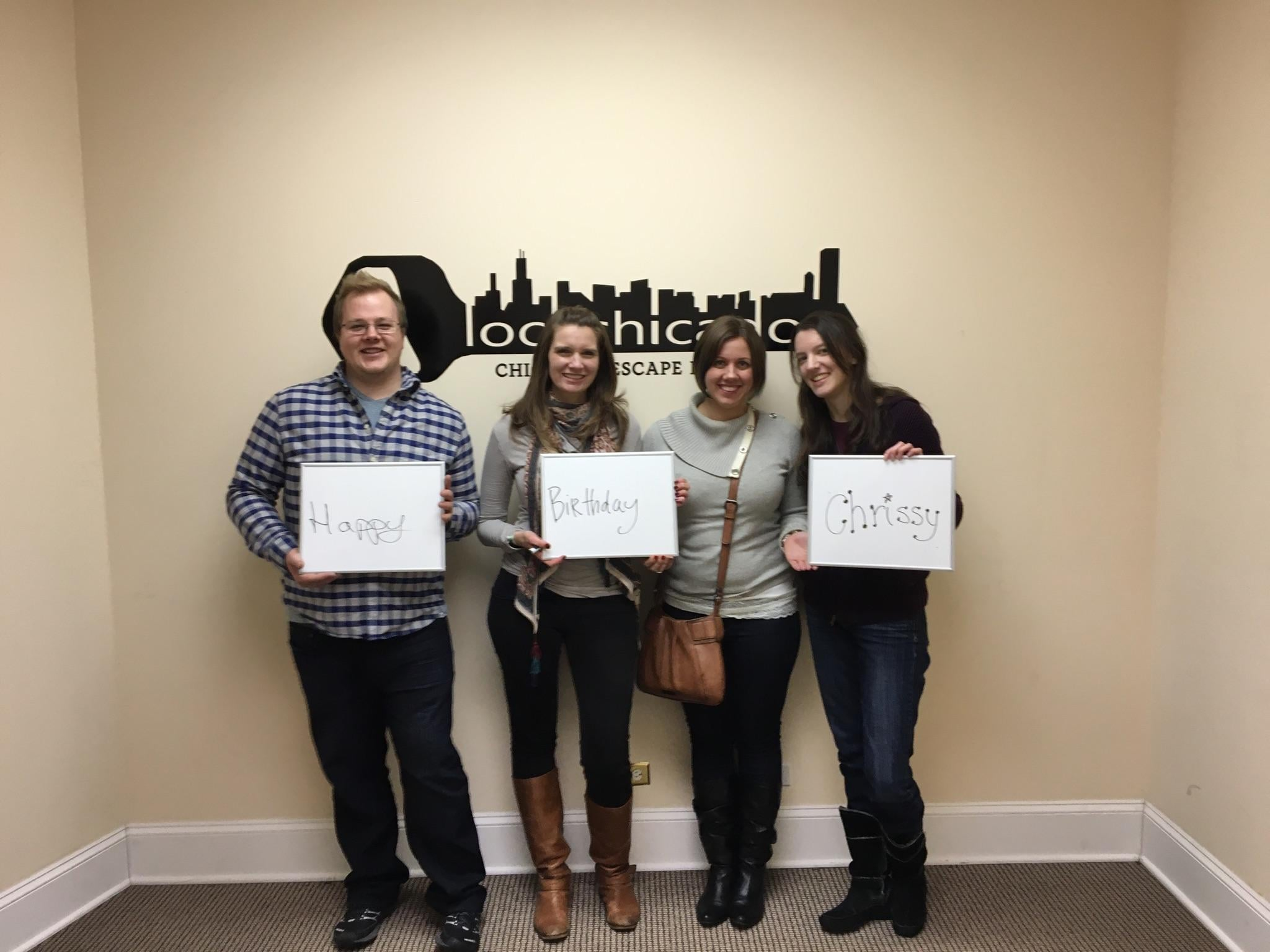 Happy Birthday Chrissy! Thanks for spening it challenging the escape room here at Lock Chicago!