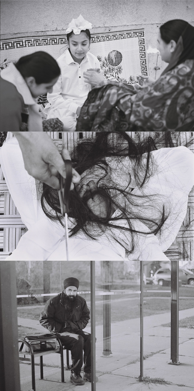 (shot in 35mm by  baljit singh + rupi kaur   | words by rupi kaur)   ' rooh ' - a photo essay exploring the stories of individuals before, during, and after the 1984 sikh genocide.  mornings are always the same in this home. the young boy wakes up. does his chores. then right after braiding his hair, tying it atop his head, and braiding his sister's, their mother prepares lunch. four steaming roti's with subji and yogurt. she sits them on the verandah to eat while chiding him for yesterday's mischiefs and tomorrow's expected troubles.  a few weeks later, when news of the genocide arrives, her motherly instincts burst through her. sensing the horror of the mob approaching before it actually does she runs frantically inside the house. grabs a pair of scissors. runs back to her children. begins snipping off their hair as fast as she can. some of us might not understand the sadness encasing this moment but for her it is like severing their limbs. hundreds of sikh mothers cut their children's hair that night. ridding them of their sikh identity. in the hopes the attackers might think they belong to a different faith- and spare their lives.  today. it is november 1st 2015. the young boy lives in ontario, canada where he attained refugee status. his mother and sister currently live in punjab, india. if you look at him now you see he has returned to his sikh identity. the one he had removed in order to save his life. he crowns his head with his turban.he has a full time position at a factory lifting boxes. works 12 hour days which start and end at this bus stop. always in uniform. unshapely black winter coat. greasy pants and heavy work boots. this is when he misses home the most. imagines the thought of combing through his long hair on that sunny verandah. the smell of his ma's punjabi roti filling his lungs. the fleeting feeling of the ebb and flow of a city that turned on itself that one night 31 years ago.
