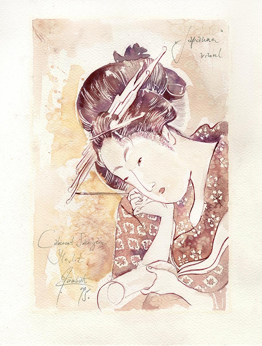 """Sanja Jankovic, copia di Kitagawa Utamaro, """"Beauty at her toilet"""""""