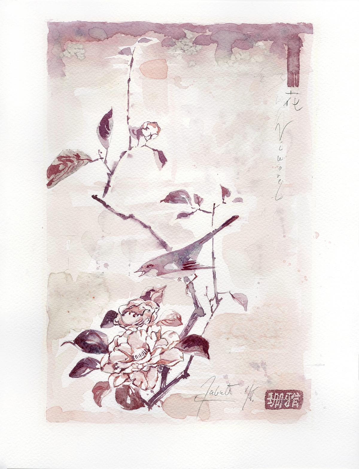 "Sanja Jankovic copia di Hiroshige-a (Utagawa Hiroshige)""Camellia and bush warbler"""