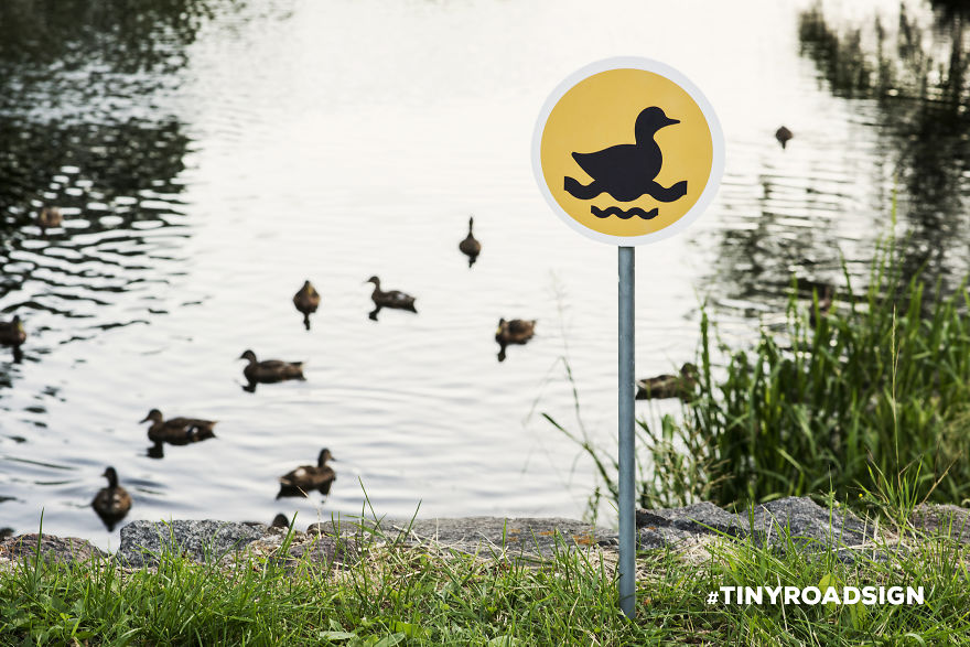Tiny road signs, segnali stradali per animali che sono una forma di street-art, Lithuania