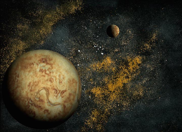 Pianeta e la luna - frittelle;Background - olio d'oliva, la farina, la cannella, cumino, sale stagionato