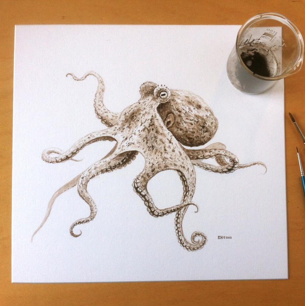 Immagine completa del disegno ad inchiostro della piovra. Photo by Esther van Hulsen