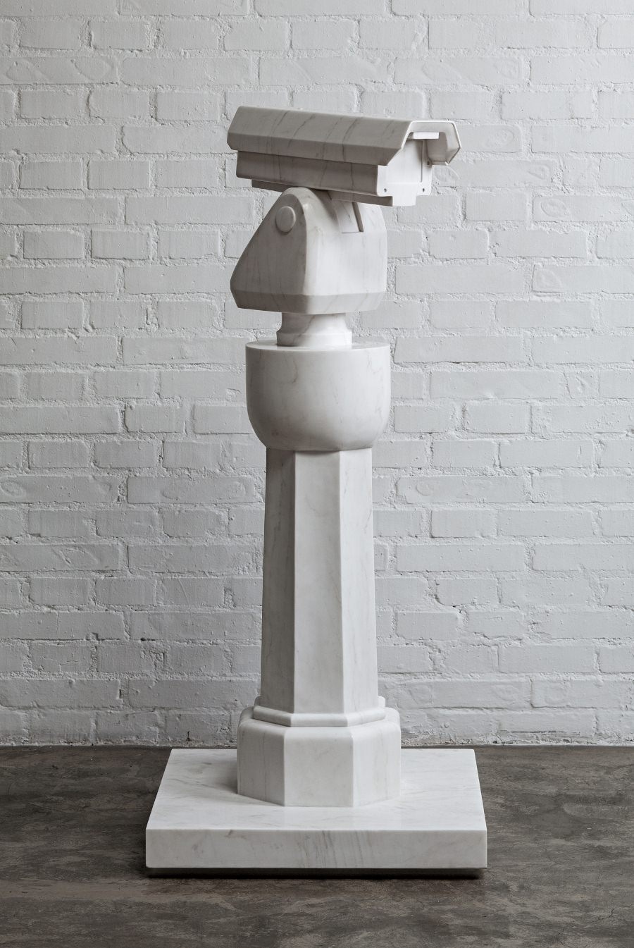 "ai weiwei, ""surveillance camera and plinth"", 2015. scultura in marmo, courtesy ai weiwei studio"