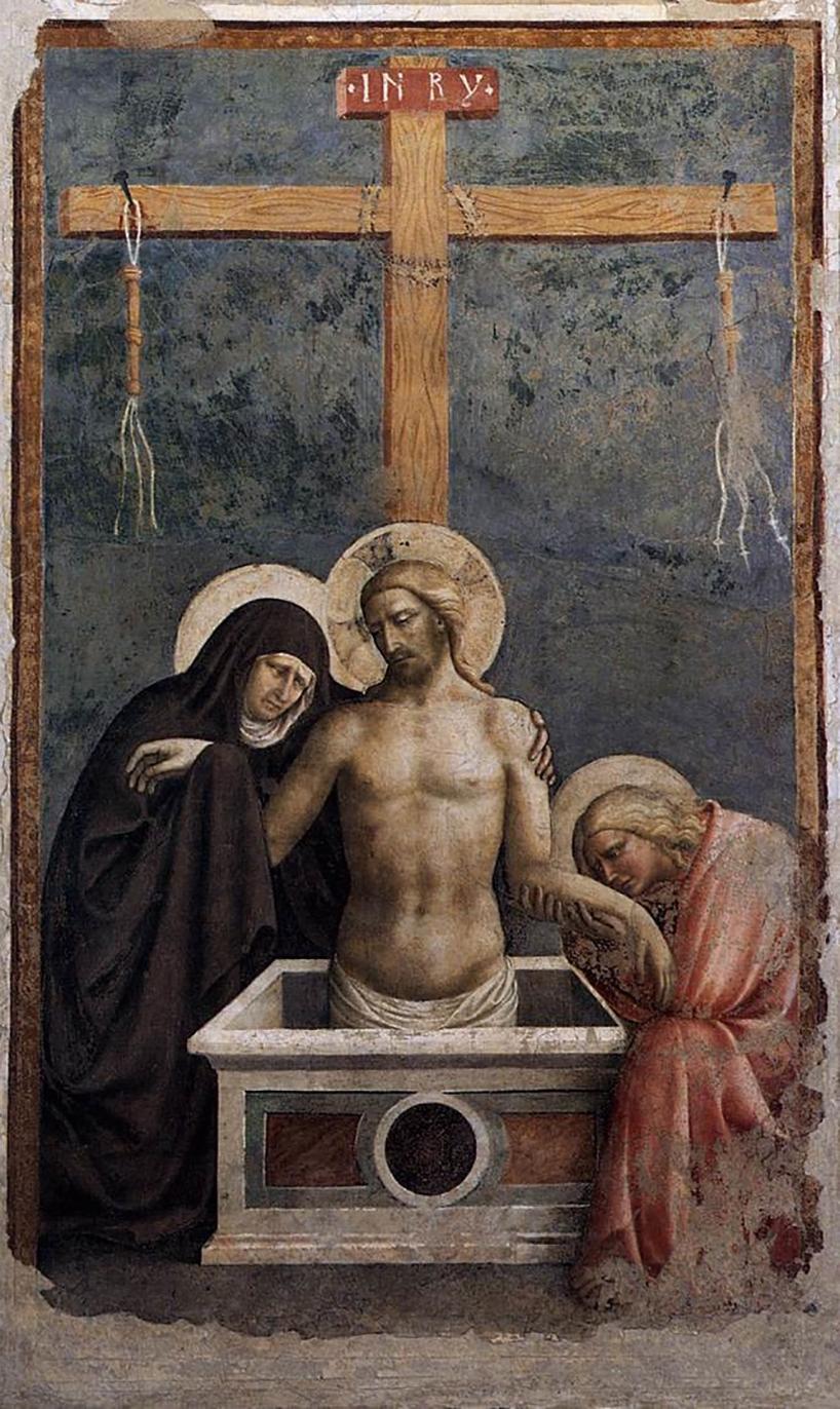 masolino da panicale: pietà, 1424 affresco staccato   cm 280 x 118 empoli, museo della collegiata di sant'andrea