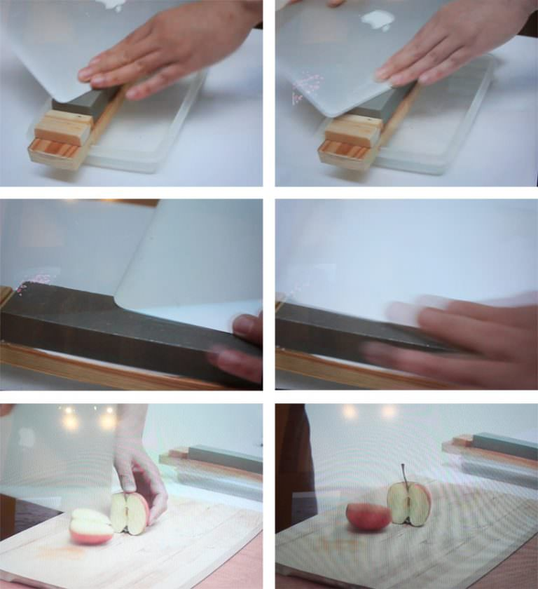 "Shimabuku, 'Sharpering a Macbook Air"", frames da video"