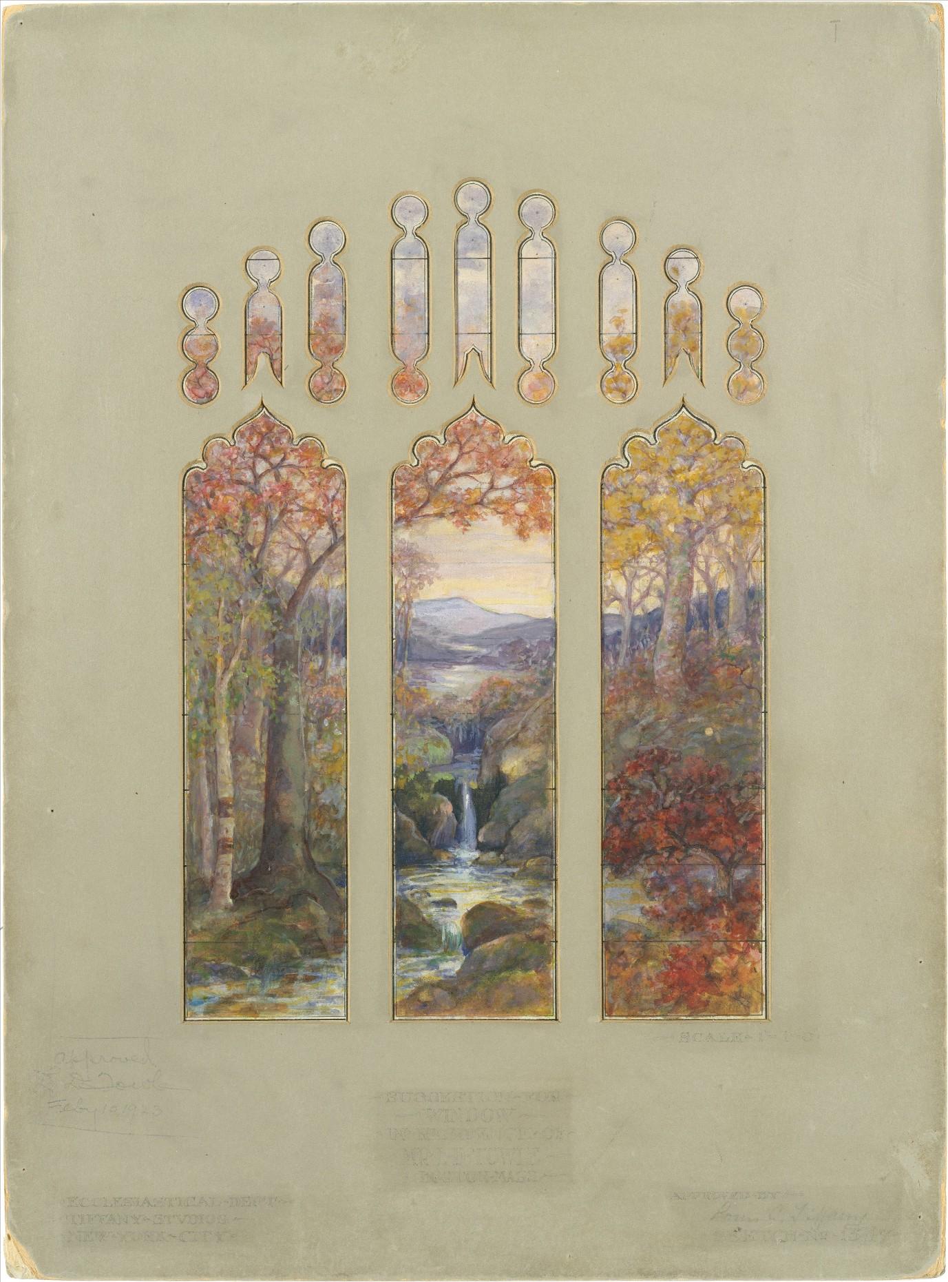 """ Art, Biology, and Conservation: Biodetermination of Works of Art ""; Luis Comfort Tiffany, ""Design for Autumn Landscape window"", 1923"