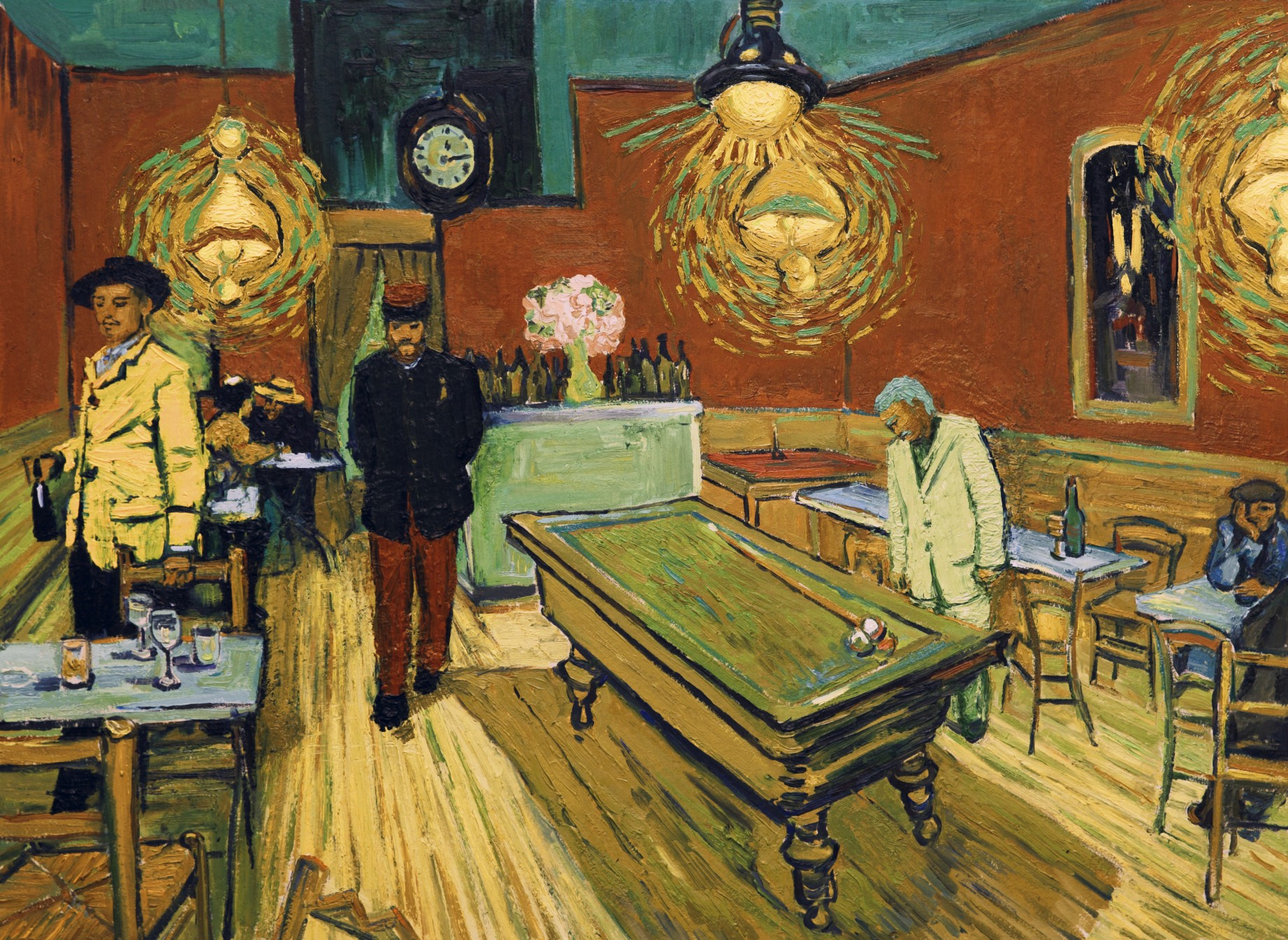 loving-vincent-Night Café, Arles Lt Milliet (Robin Hodges) and Armand Roulin (Douglas Booth).jpg