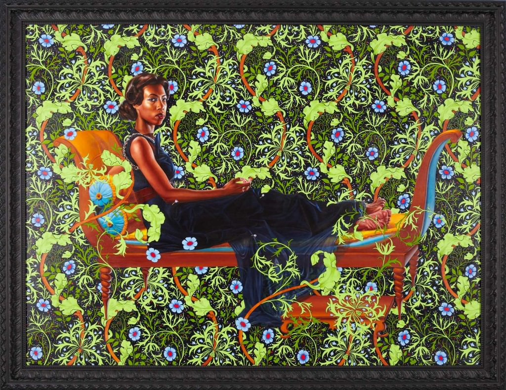 "AN ECONOMY OF GRACE; JULIETTE RECAMIER, 2012 ; OIL ON CANVAS 72"" X 96"". Courtesy  Kehinde Wiley"