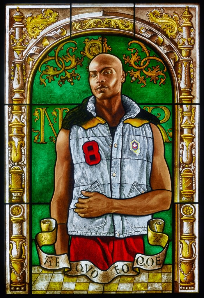 STAINED GLASS; ARMS OF NICOLAAS RUTERIUS, BISHOP OF ARRAS , 2014; STAINED GLASS 54 X 36.5 IN. Courtesy  Kehinde Wiley