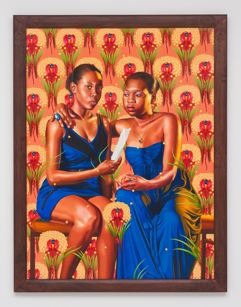 HAITI; THE SISTERS ZÉNAÏDE AND CHARLOTTE BONAPARTE , 2014; OIL ON LINEN 83.5 X 63 INCHES. Courtesy  Kehinde Wiley