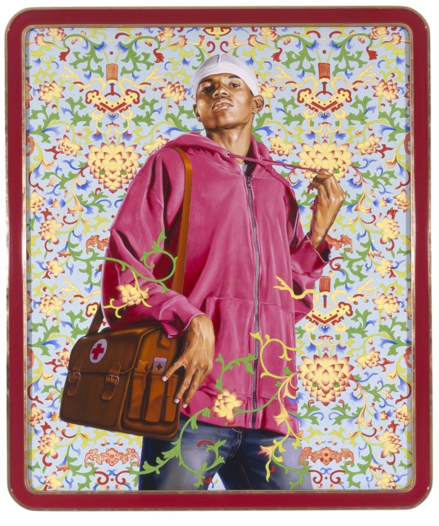 CHINA; SUPPORT THE RURAL POPULATION AND SERVE 500 MILLION PEASANTS , 2007; OIL AND ENAMEL ON CANVAS 72 X 60. Courtesy  Kehinde Wiley