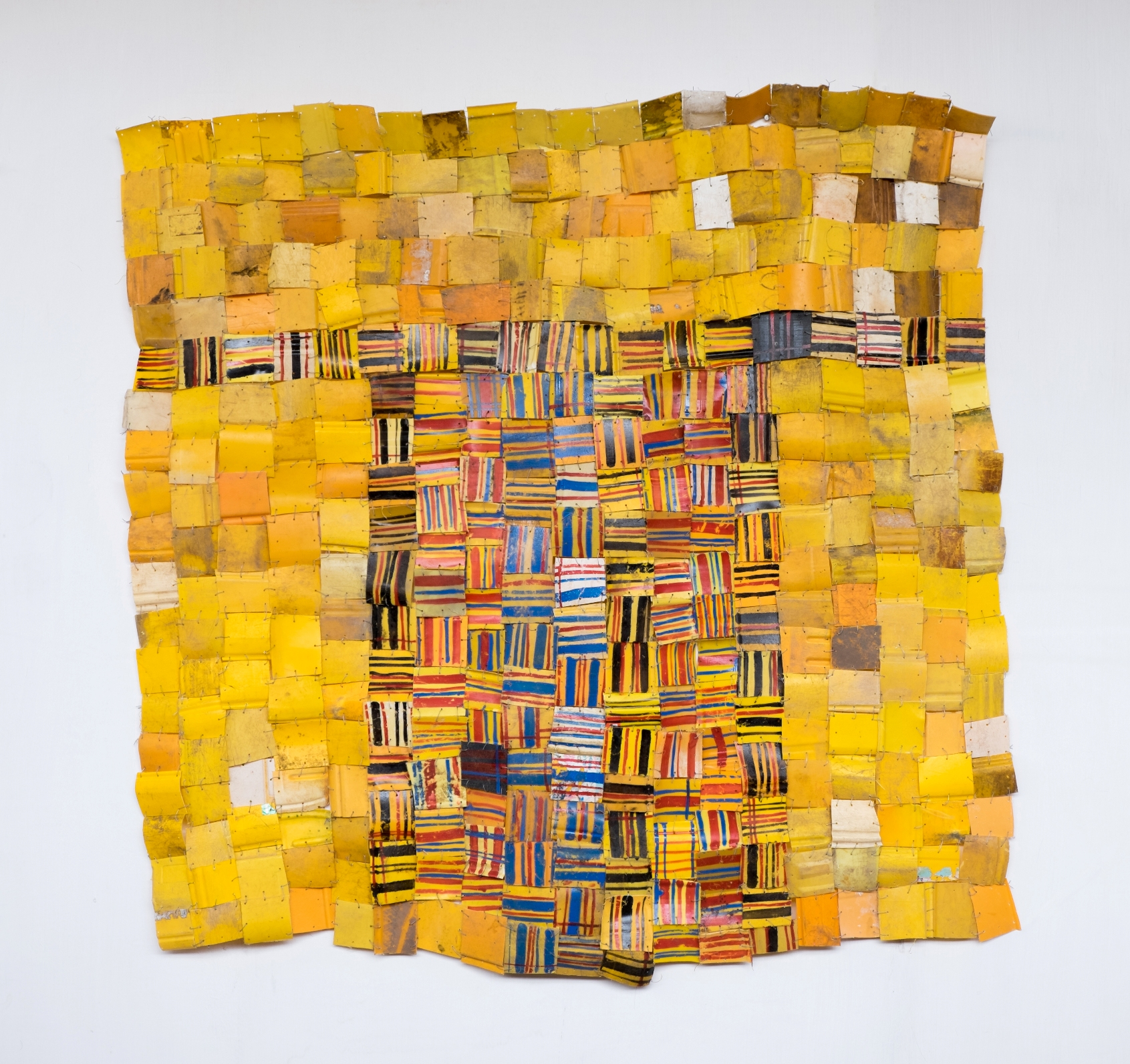 Serge Attukwei Clottey, Voices Demanding, 2016, plastics, wire and oil paint, 64''x 64'', courtesy the artist and Gallery 1957