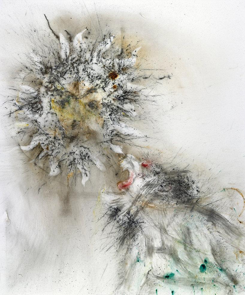 'alchemist', cai guo-qiang, polvere da sparo su tela, 240 x 200 cm, 2017;courtesy © museo nacional del prado