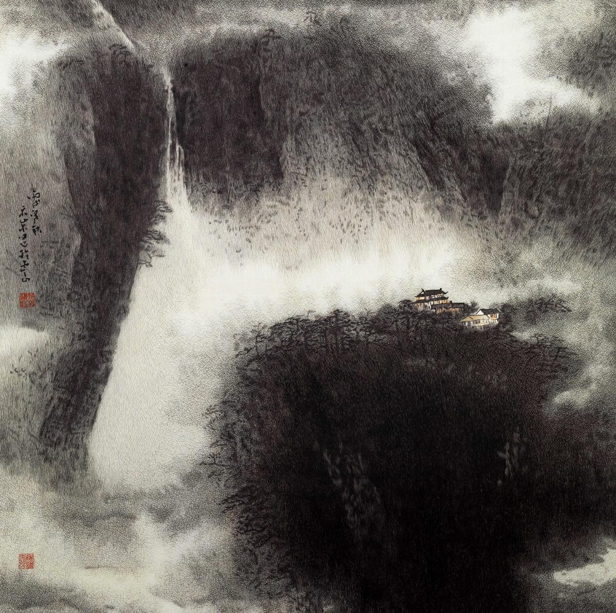 Paesaggio , ricamo a cuciture casuali, 80x80cm, 2011