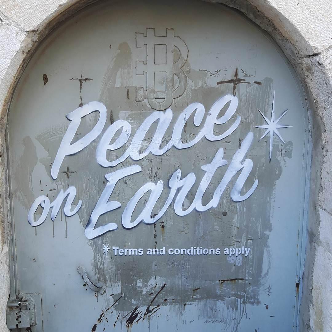 Banksy, di fronte alla Chiesa della Natività di Betlemme