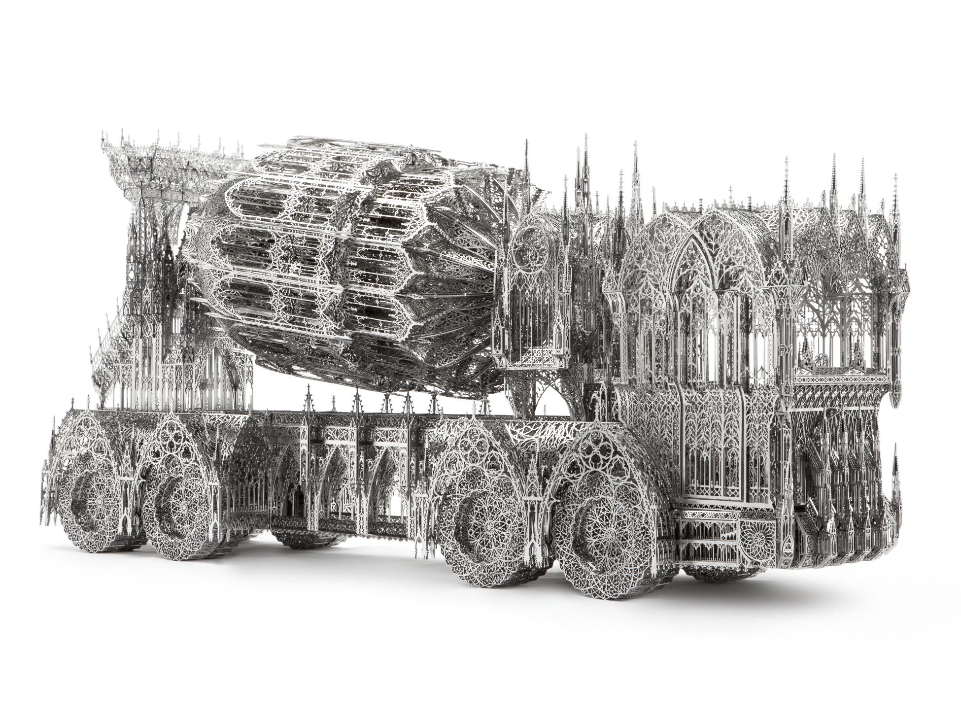 Wim Delvoye, Cement Truck, 2013, 138 x 36 x 68.5cm, laser-cut stainless steel