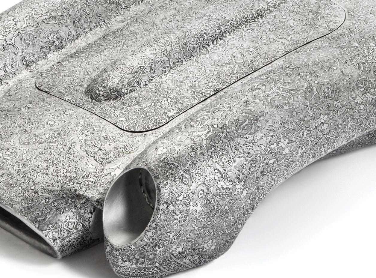 Wim Delvoye, Ferrari Testarossa (scale -¢), 2017, 87 x 40 x 40, embossed aluminium; (particolare)