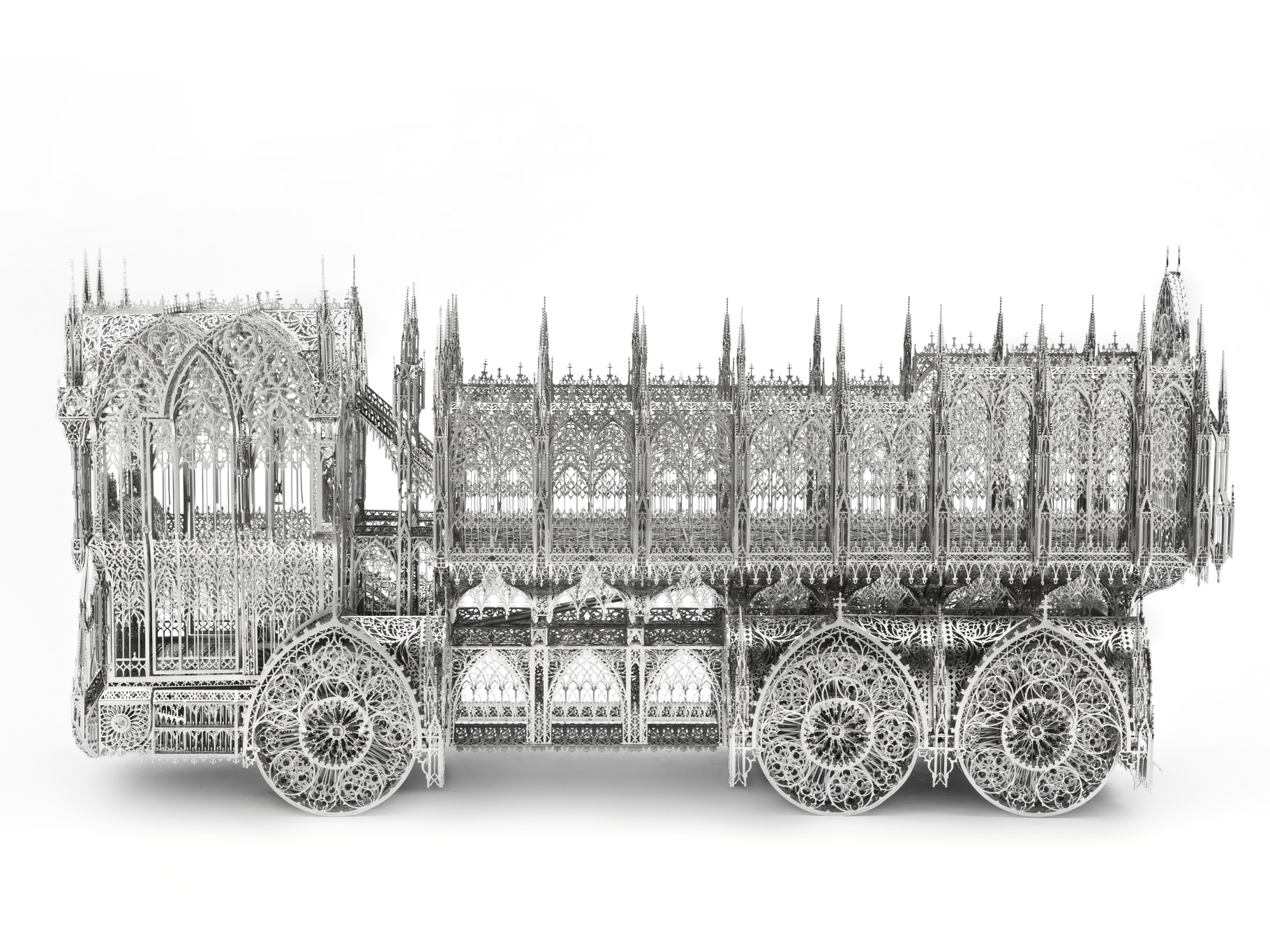 Wim Delvoye, Dumptruck, 2011, L 117 X 38 X H 56 cm, laser cut stainless steel