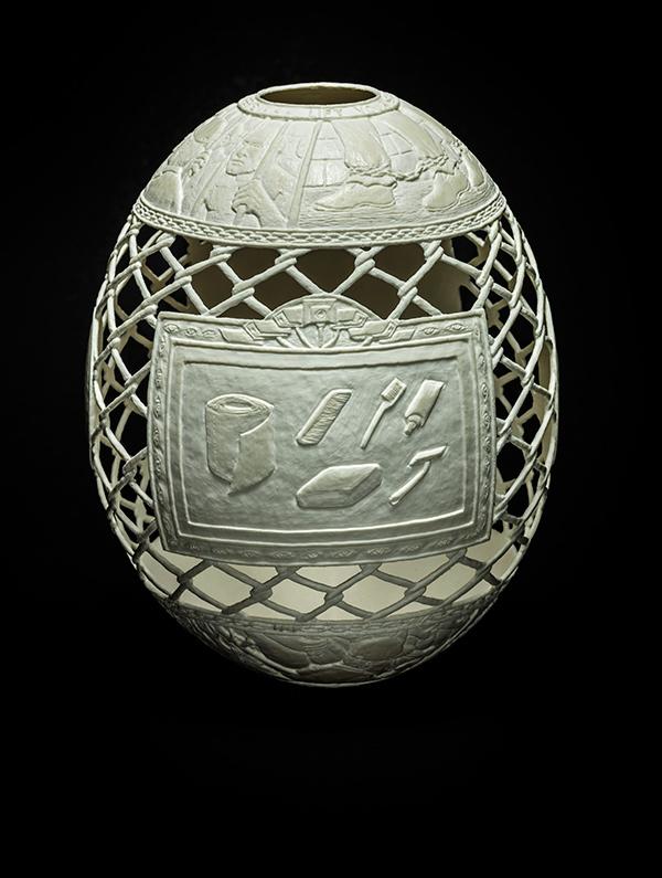 Reception: Fresh Fish,2015, carved ostrich egg shell, 6.5 x 5 x 5 in.photo via  ricco/maresca