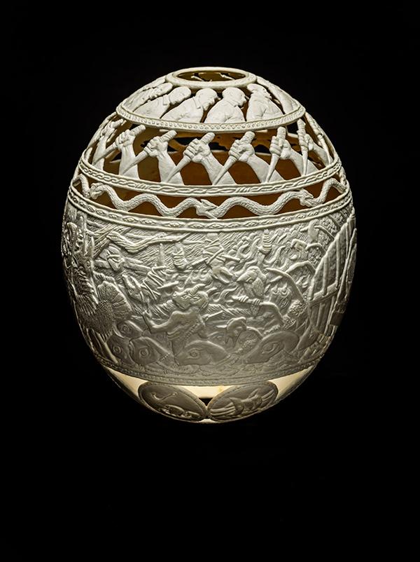 51/50 Dreams,2015, carved ostrich egg shell, 6.5 x 5 x 5 in.photo via  ricco/maresca