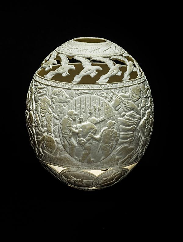 Sanctuary,2014, carved ostrich egg shell, 6.5 x 5 x 5 in.photo via  ricco/maresca