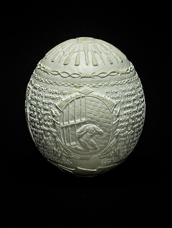 Jargon,2014, carved ostrich egg shell, 6.5 x 5 x 5 in.photo via  ricco/maresca
