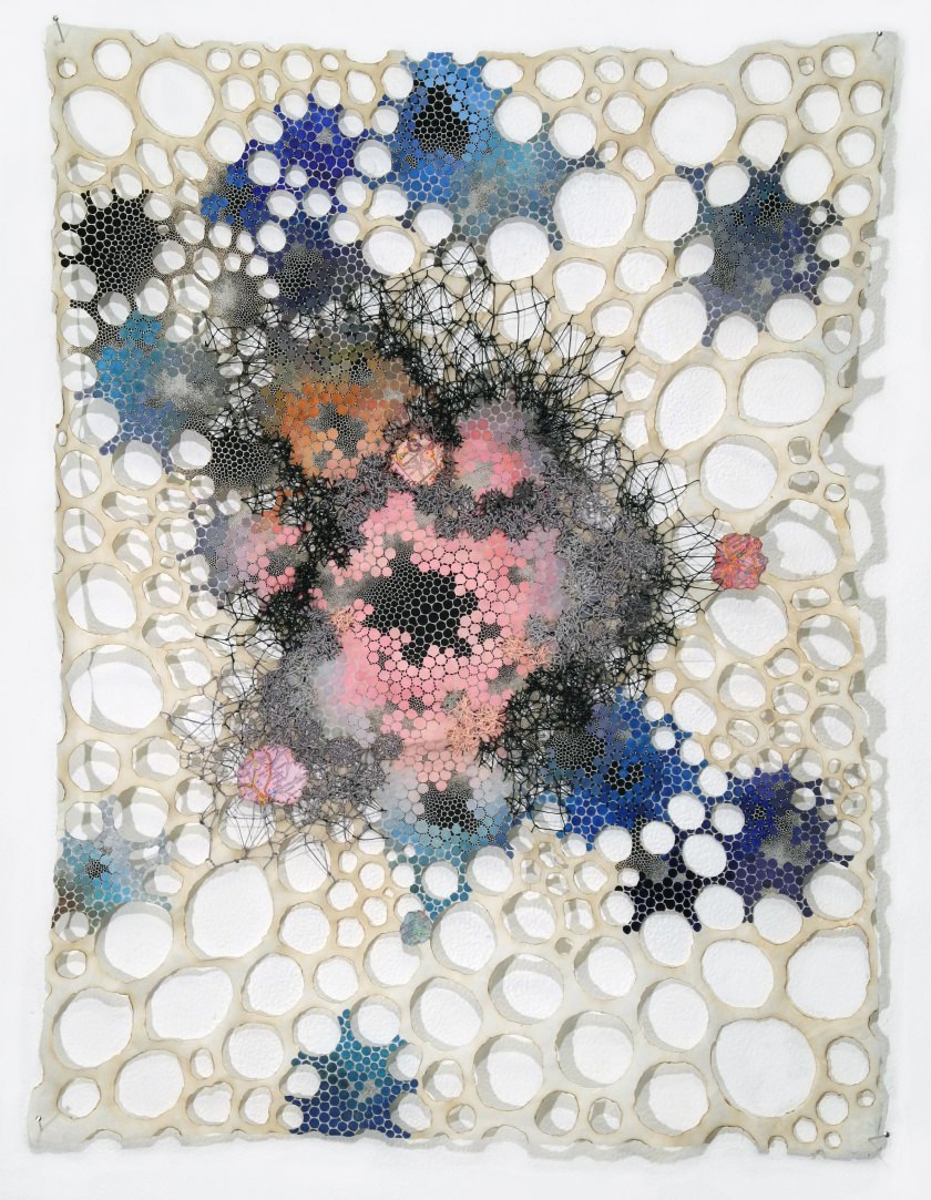 "Cathexis Karen Margolis Cathexis, 2017 watercolor, gouache, maps, thread on Abaca paper 24""x18"" Courtesy of the artist and Garis & Hahn"