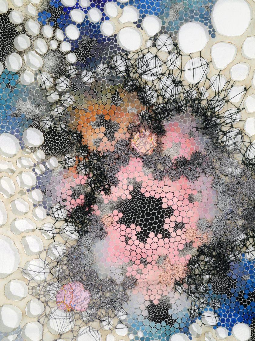 "Cathexis Karen Margolis Cathexis, 2017 watercolor, gouache, maps, thread on Abaca paper 24""x18"" (particular) Courtesy of the artist and Garis & Hahn"