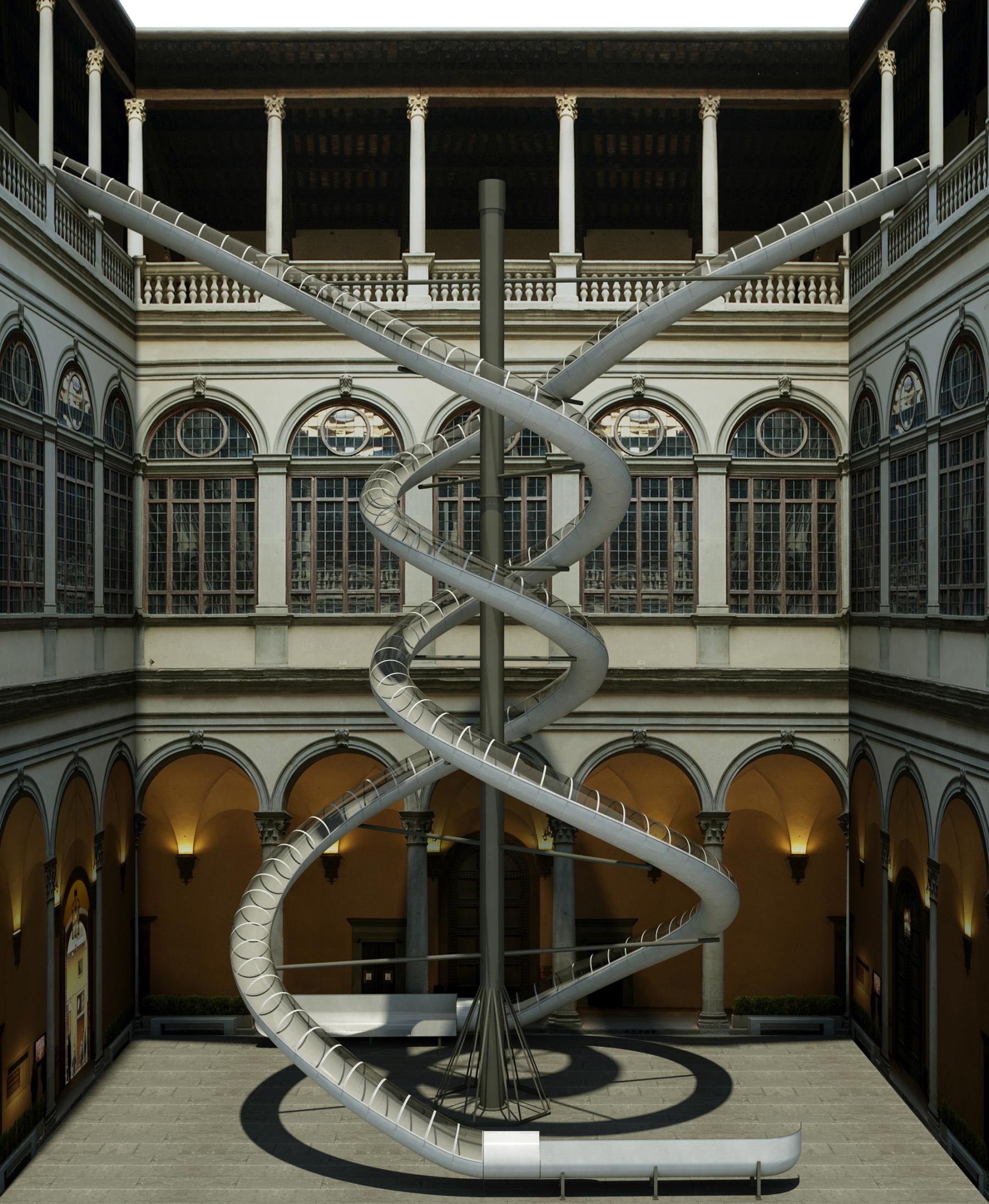 The Florence Experiment Slides, 2018 (Scivoli nel Cortile di Palazzo Strozzi) (Rendering di Michele Giuseppe Onali)