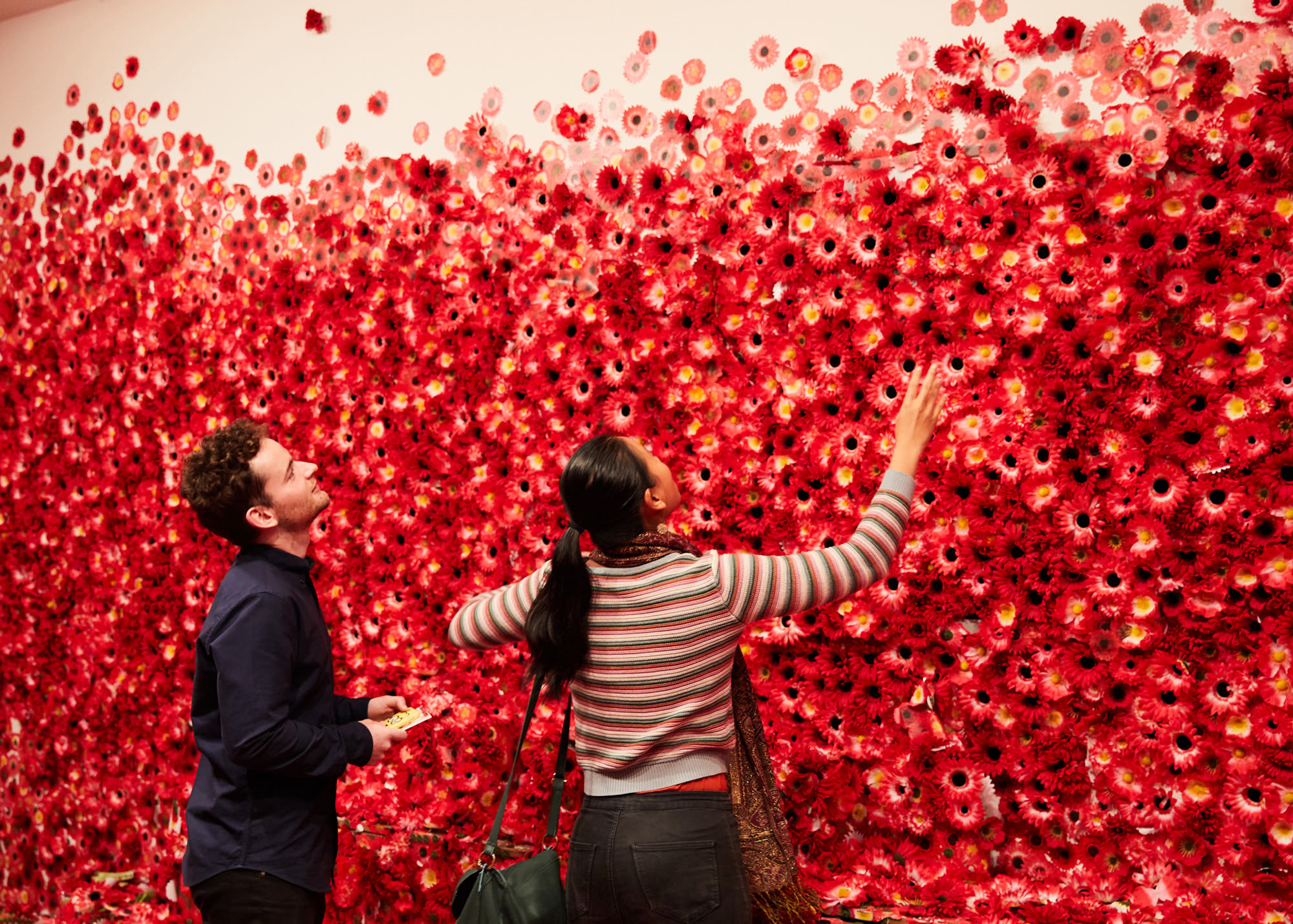 Yayoi Kusama's Flower obsession 2017 on display at NGV Triennial 2017. Photo: Sam Wong