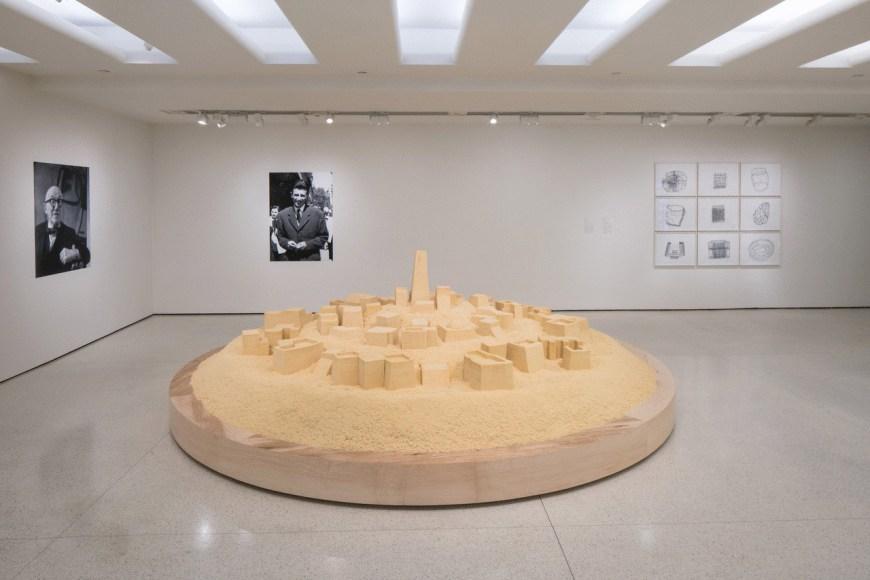 Kader Attia,Untitled (Ghardaïa), 2009;Couscous, two inkjet prints, and five photocopy prints; credits:Solomon R. Guggenheim Museum, New York Guggenheim UBS MAP Purchase Fund, 2015;© Kader Attia